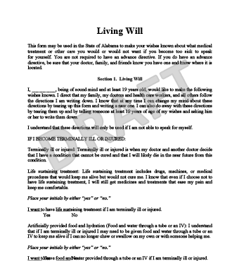Create a free living will form legaltemplates for Sample of living will template