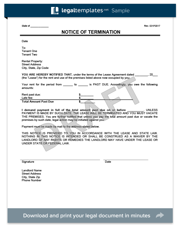 Eviction Notice Form Template  Landlord Eviction Notice Letter
