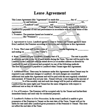 Lease Agreement  Free Printable Residential Lease Agreement