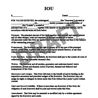 free printable iou forms