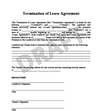 notice - Termination Letter For Tenant From Landlord