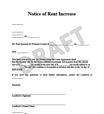 notice of rent increase sample