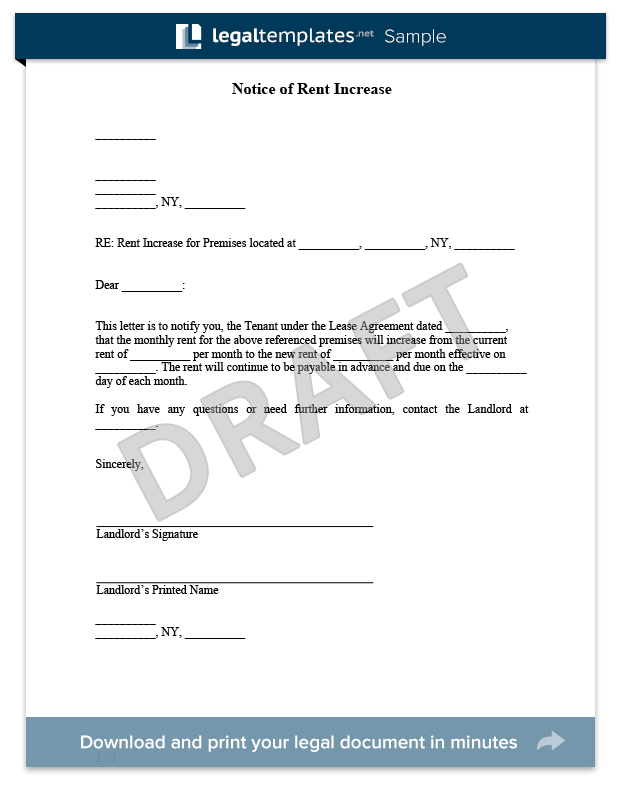 download a free rent increase letter template