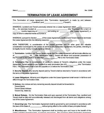 Lease Termination Form Example Thumbnail  Free Lease Agreement Template Word Doc