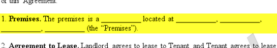 highlighted premises section of a sample rental agreement