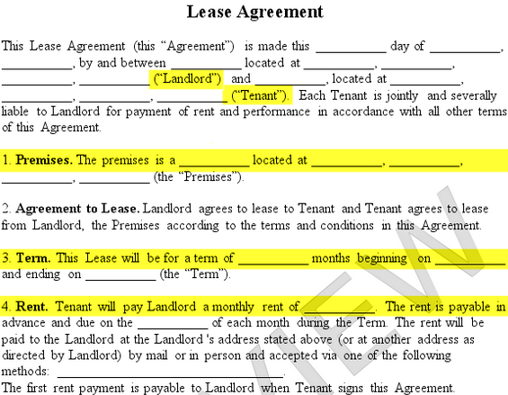 Lease Agreement Form Premises Landlord Tenant Rent Term  Lease Agreement Form Template