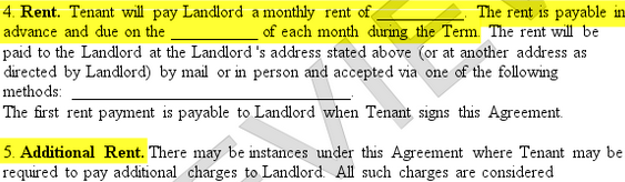 highlighted rent section of a sample rental lease agreement