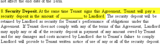 Lease Agreement Form Security Deposit Section