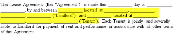 highlighted name section of a lease agreement template