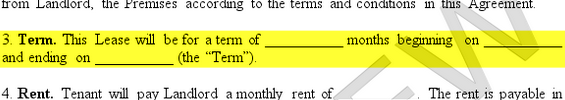 highlighted term section of a lease agreement example form