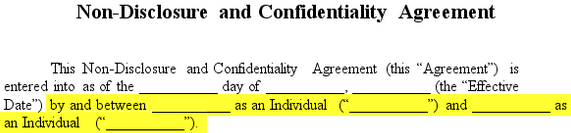NonDisclosure Confidentiality Agreement Create An NDA - Individual nda template