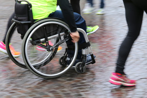 disabled person in a wheelchair in a race