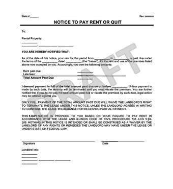 Late Rent Notice Form Example  Notice To Quit Letter