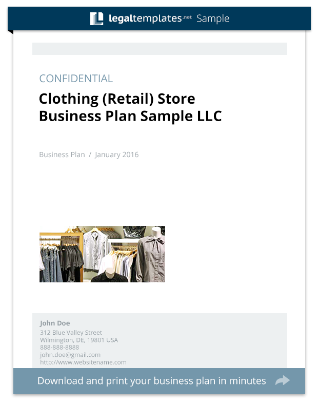 Clothing Retail Store Business Plan Sample Legal Templates - Clothing business plan template