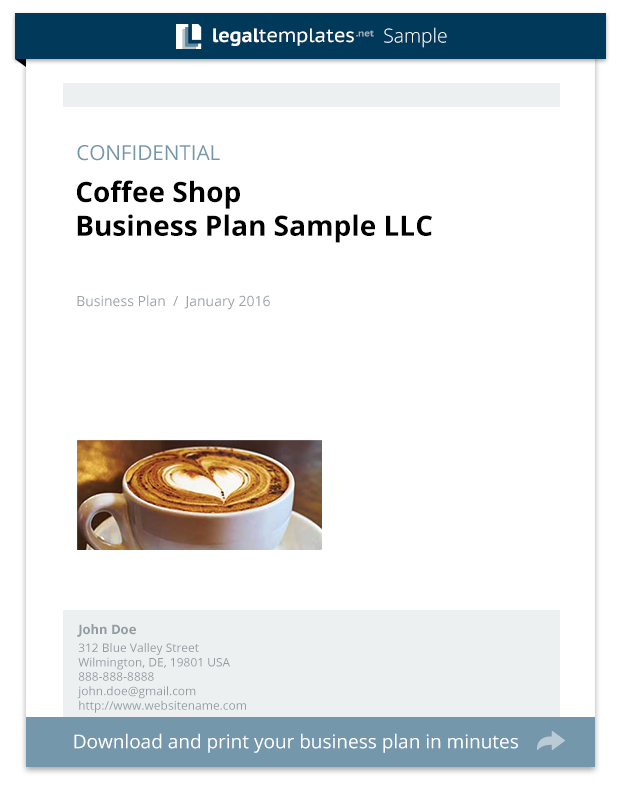 Coffee Shop Business Plan Sample Legal Templates - Coffee shop business plan template free