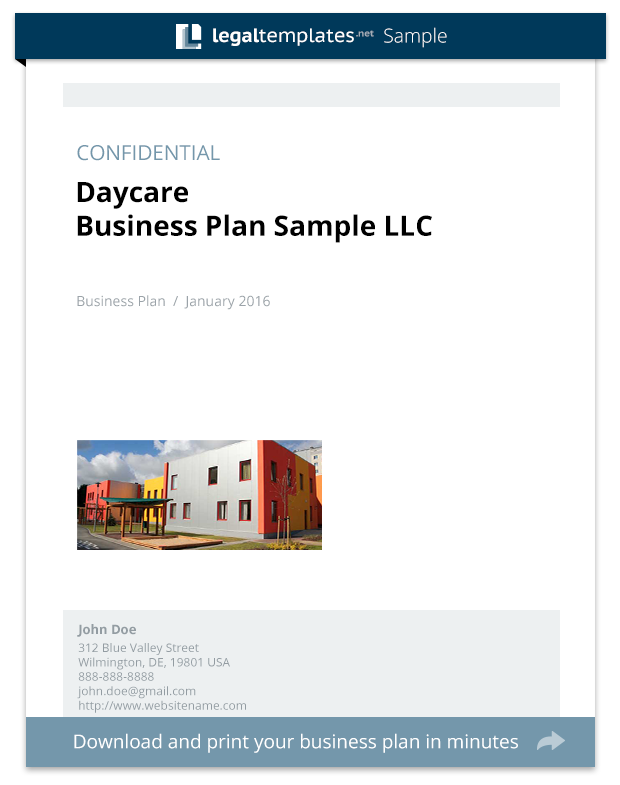 Daycare Business Plan Sample Legal Templates - Daycare business plan template