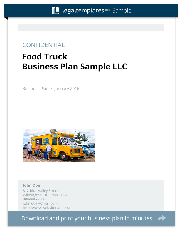 Food Truck Business Plan Sample Legal Templates - Food business plan template