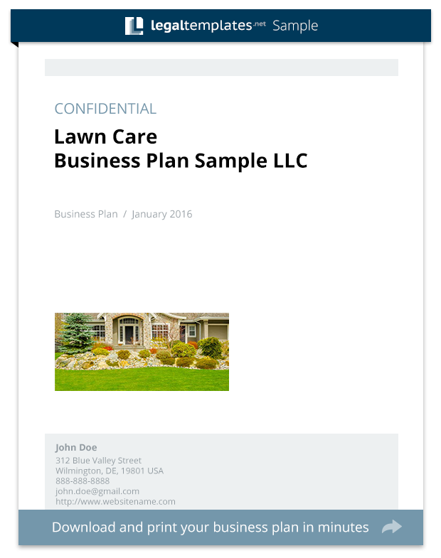 Lawn care business plan sample legal templates wajeb Images