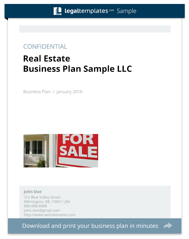 real estate business plan sample legal templates
