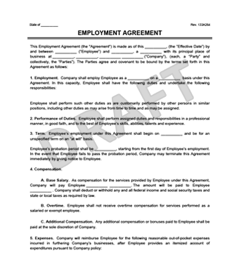 employment agreement document thumbnail