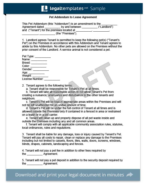 Pet Addendum To A Lease Agreement Legal Templates - Companion dog letter template