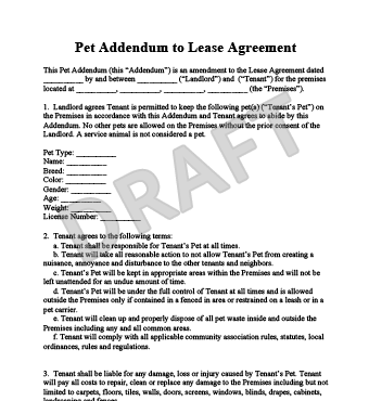 addendum lease agreement template .