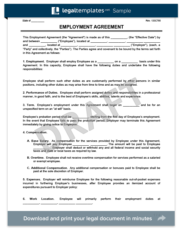 employment agreement form template