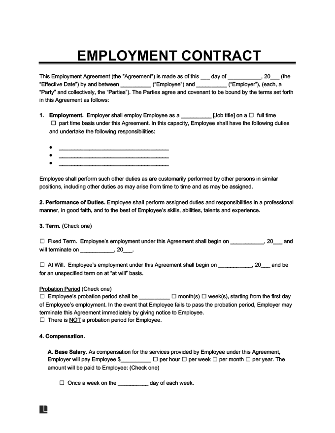 Free Employment Contract Standard Employee Agreement Template