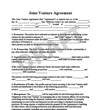 Joint Venture Agreement  Agreement Templates