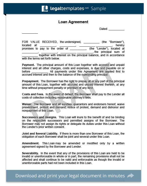 Download A Free Loan Agreement Template