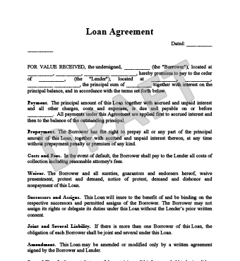 High Quality Loan Agreement. View Sample