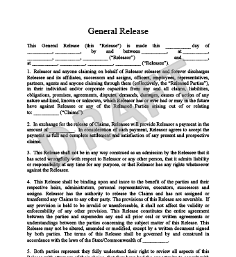 Elegant Release Of Liability Form With Generic Liability Waiver And Release Form