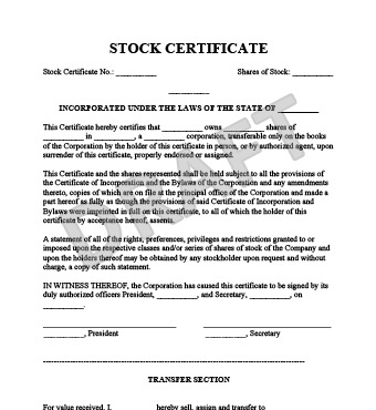 share certificate template word