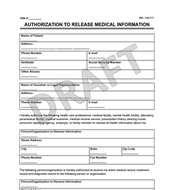 medical records release form create a request for medical records