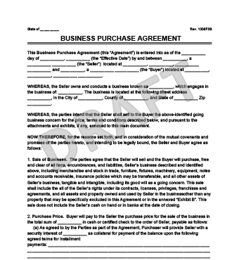 Business Purchase Agreement Contract Sample Image  Free Purchase Agreement Form