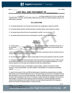 Sample Last Will And Testament Form Legal Templates