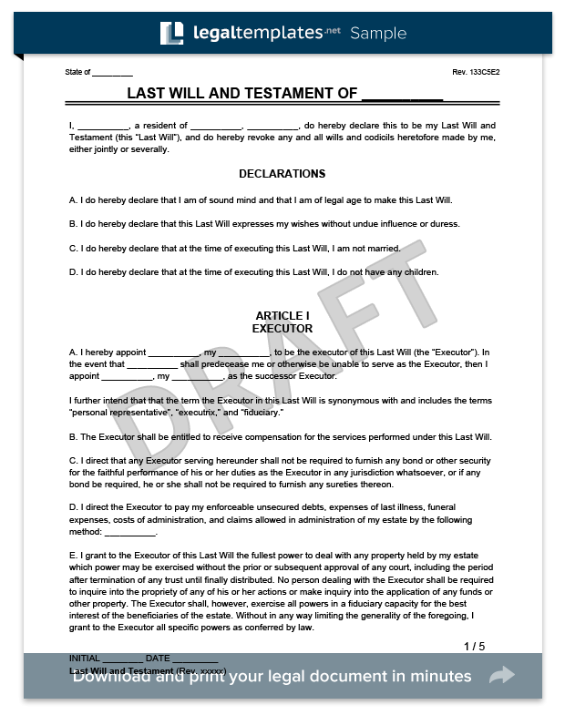 Create A Last Will And Testament Legal Templates - Final will and testament template
