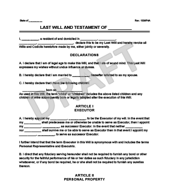 Sample last will and testament form legal templates for Writing a will template free