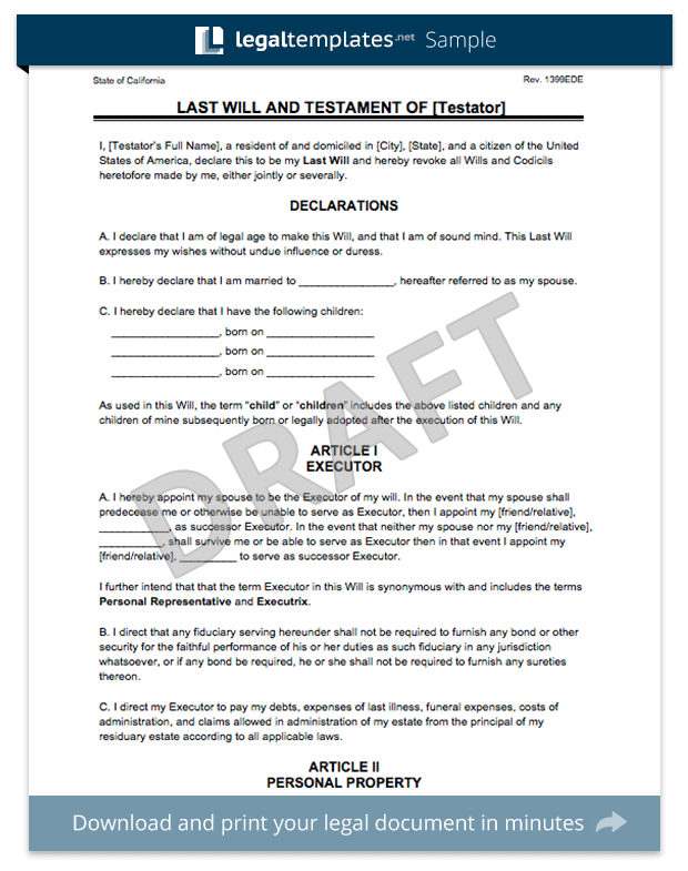 sample of a last will and testament template - create a last will and testament legal templates