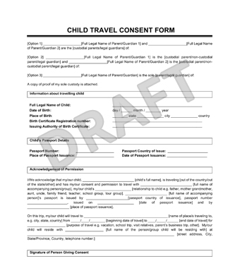 Great Child Travel Consent Form