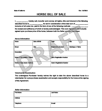 Create A Horse Bill Of Sale | Legal Templates