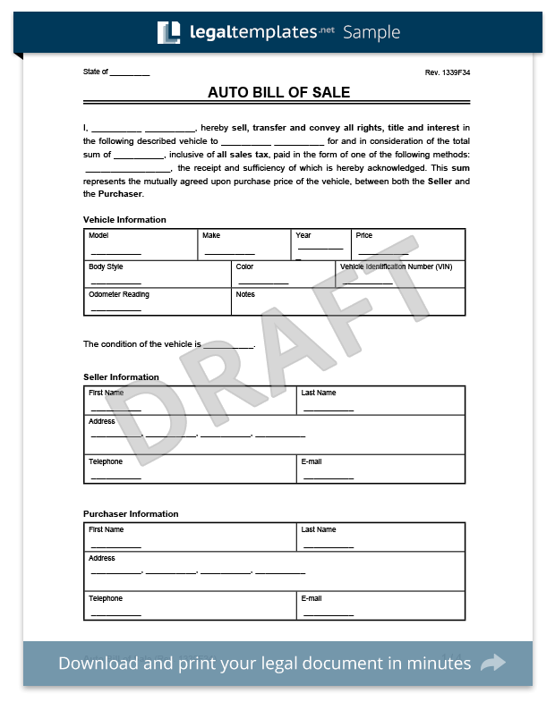 Bill of Sale Form Free Printable Template Vehicle Car Generic