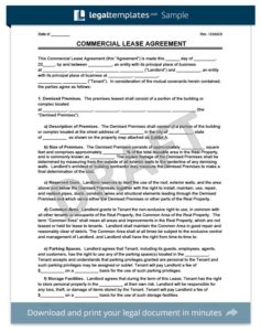 Download A Free Commercial Lease Agreement Template
