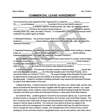 Commercial Lease Agreement  Commercial Lease Agreement Template Free