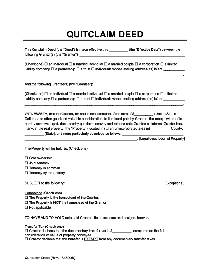 Download A Free Quitclaim Deed Template