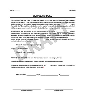 Create A Quitclaim Deed In Minutes  Legal Templates