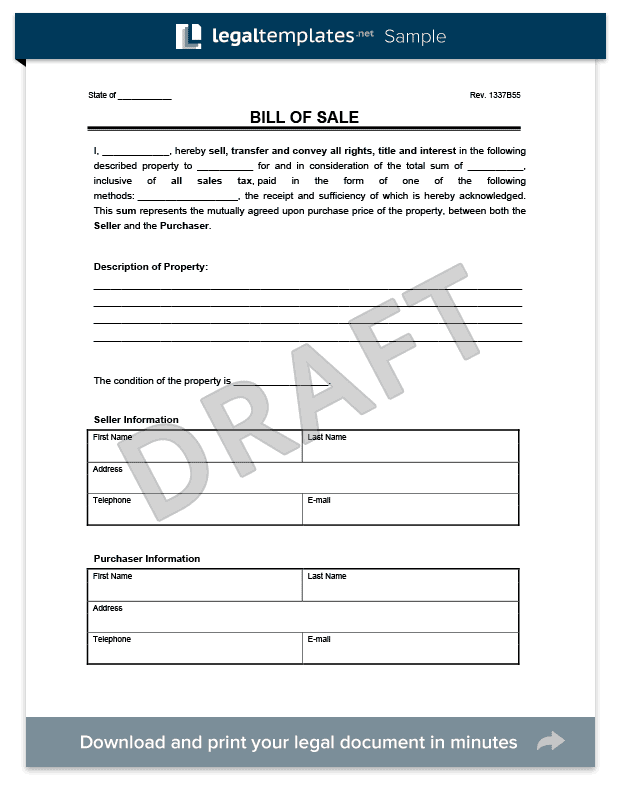 Bill of Sale Form | Free & Printable Template | Vehicle, Car & Generic
