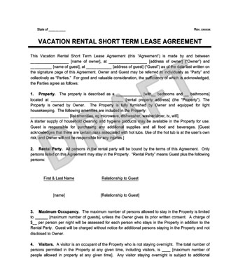 Vacation Rental Short Term Lease Agreement  Create  Download
