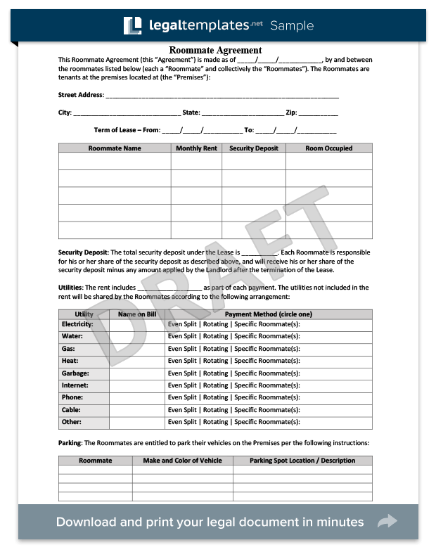 Roommate Agreement Form | Create a Free Roommate Agreement | Legal ...
