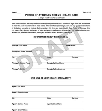 Medical Power Of Attorney Form Create A Free Healthcare Poa